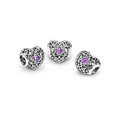 February Signature Heart Birthstone Charm, Sterling silver, Purple, Synthetic Amethyst - PANDORA - #791784SAM