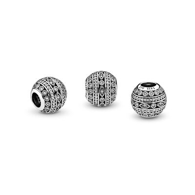 Glittering Shapes Charm, Sterling silver, Cubic Zirconia - PANDORA - #796243CZ
