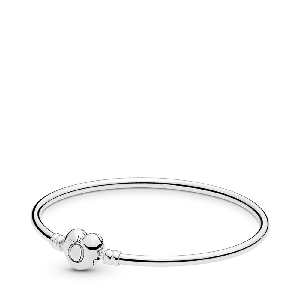 ee99a2dc4 Moments Silver Bangle, Logo Heart Clasp, Sterling silver – Shop P