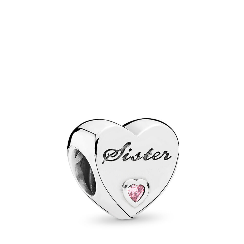 a0739739a Sister's Love Charm, Sterling silver, Cubic Zirconia – Shop PANDO