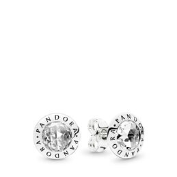 Radiant PANDORA Logo Stud Earrings, Sterling silver, Cubic Zirconia - PANDORA - #296216CZ