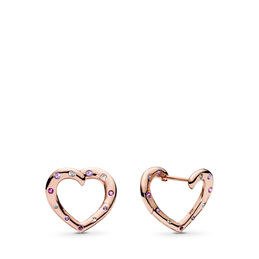 Bright Hearts Hoop Earrings, PANDORA Rose, Purple, Mixed stones - PANDORA - #287231NRPMX
