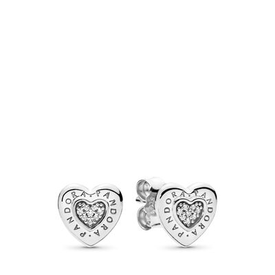 Pandora Logo Heart Stud Earrings