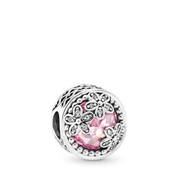 Dazzling Daisy Meadow Charm, Sterling silver, Pink, Cubic Zirconia - PANDORA - #792055PCZ