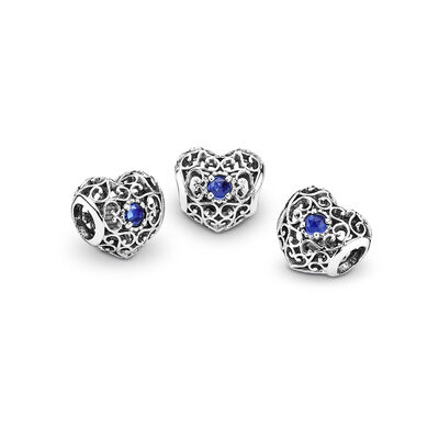 September Signature Heart Birthstone Charm, Sterling silver, Blue, Synthetic sapphire - PANDORA - #791784SSA