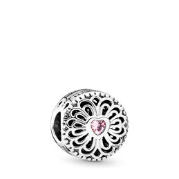 Love & Friendship Charm, Sterling silver, Pink, Cubic Zirconia - PANDORA - #791955PCZ