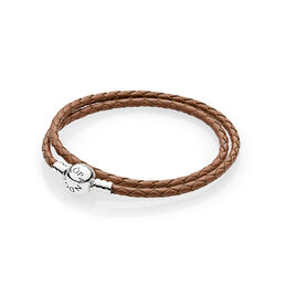 Moments Double Woven Leather Bracelet, Brown, Sterling silver, Leather, Brown - PANDORA - #590745CBN-D