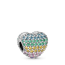 Multi-colour Pavé Open My Heart Clip, Sterling silver, Blue, Mixed stones - PANDORA - #797221NRPMX