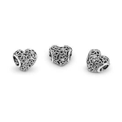 Blooming Heart Charm, Sterling silver, Cubic Zirconia - PANDORA - #796264CZ