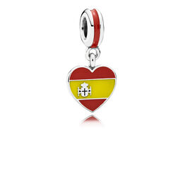 Spain Heart Flag Pendant Charm, Sterling silver, Enamel, Yellow - PANDORA - #791550ENMX
