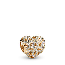 Love & Appreciation Openwork Charm, Yellow Gold 14 k, Cubic Zirconia - PANDORA - #750837CZ