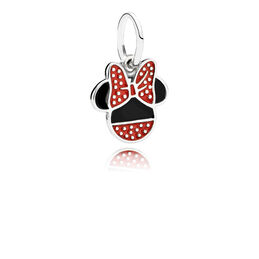 Disney, Minnie Icon Pendant Charm, Sterling silver, Enamel, Black - PANDORA - #791460ENMX
