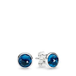 December Droplets Stud Earrings, Sterling silver, Blue, Crystal - PANDORA - #290738NLB