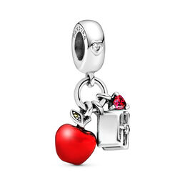Disney, Snow White's Apple & Heart Pendant Charm, Sterling silver, Enamel, Green, Mixed stones - PANDORA - #797486CZRMX