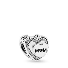 Tribute to Mum Charm, Sterling silver, Cubic Zirconia - PANDORA - #792070CZ