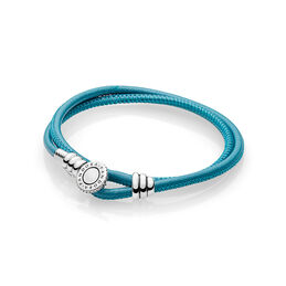 Moments Double Leather Bracelet Turquoise
