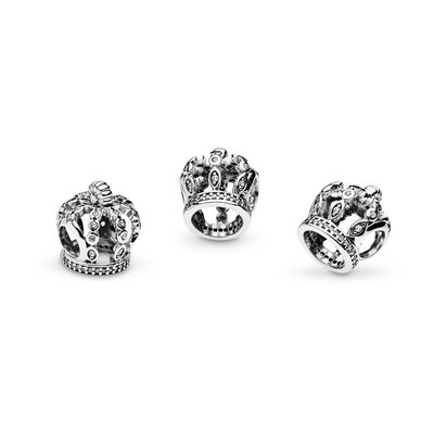 Fairytale Crown Charm, Sterling silver, Cubic Zirconia - PANDORA - #792058CZ