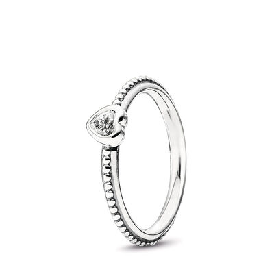 Delicate Heart Ring, Sterling silver, Cubic Zirconia - PANDORA - #190896CZ