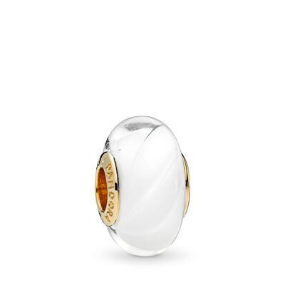 White Waves Glass Murano Charm