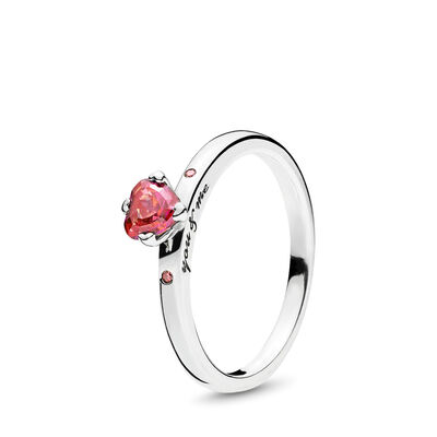 You and Me Ring, Sterling silver, Pink, Cubic Zirconia - PANDORA - #196574CZRMX