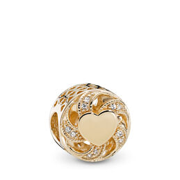 Ribbon Heart Charm, Yellow Gold 14 k, Cubic Zirconia - PANDORA - #751004CZ