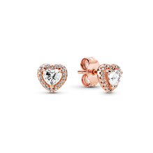 Sparkling Elevated Heart Stud Earrings