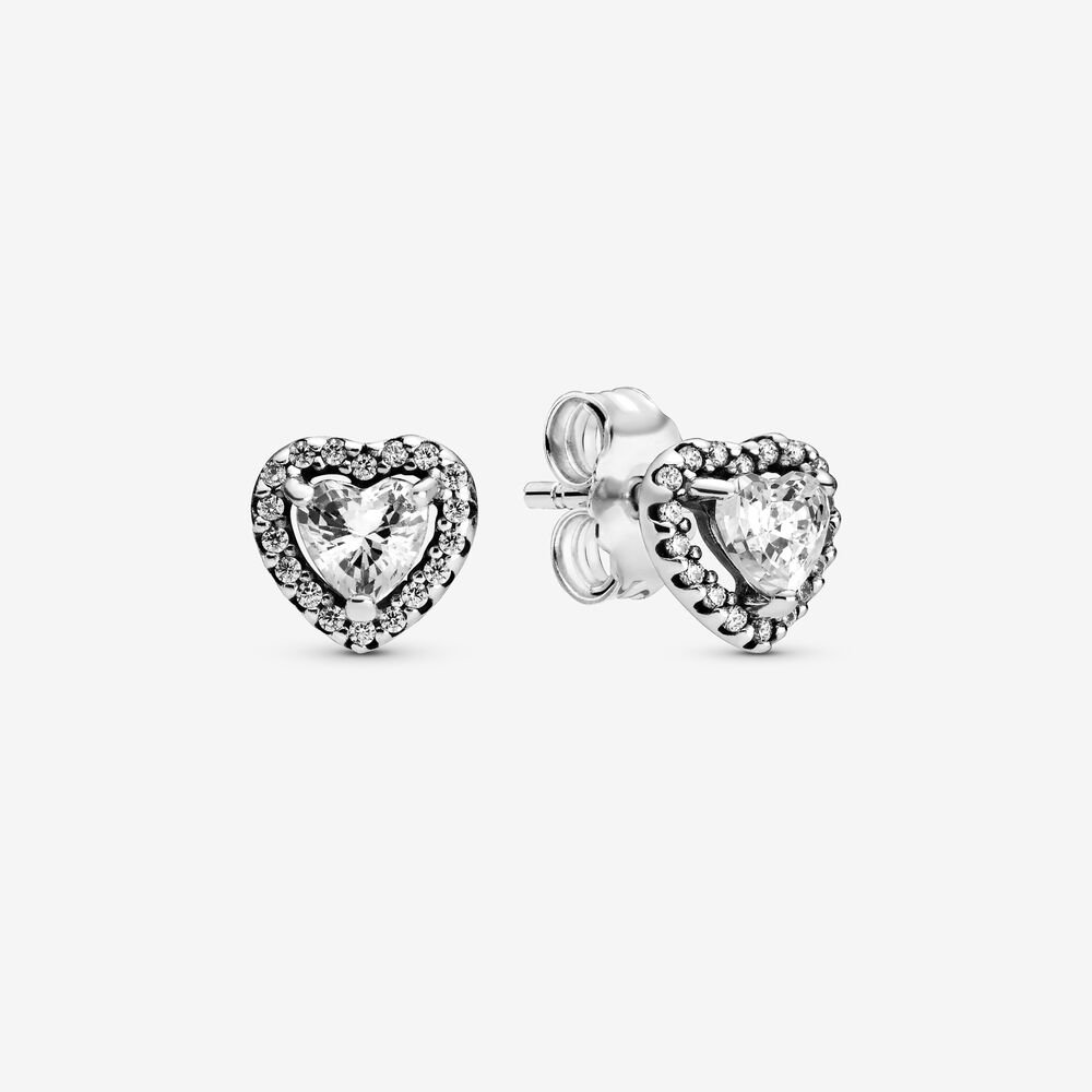 Elevated Heart Stud Earrings Sterling Silver Clear Cubic