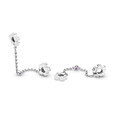 Wildflower Meadow Safety Chain, Sterling silver, Purple, Crystal - PANDORA - #797090NRP