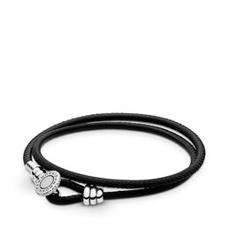 Moments Double Leather Bracelet, Black, Sterling silver, Leather, Black, Cubic Zirconia - PANDORA - #597194CBK-D