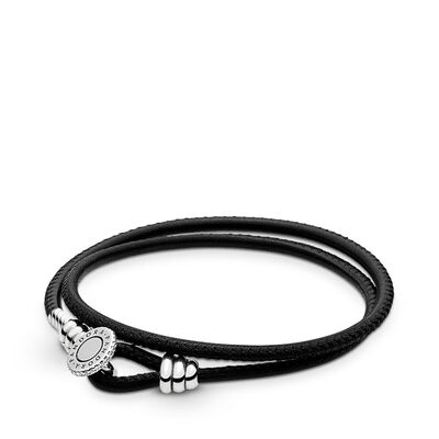 Moments Double Leather Bracelet, Black