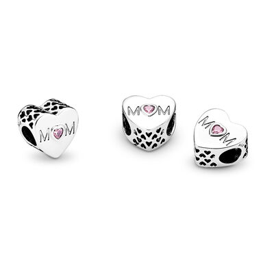 Mother Heart Charm, Sterling silver, Cubic Zirconia - PANDORA - #791881PCZ