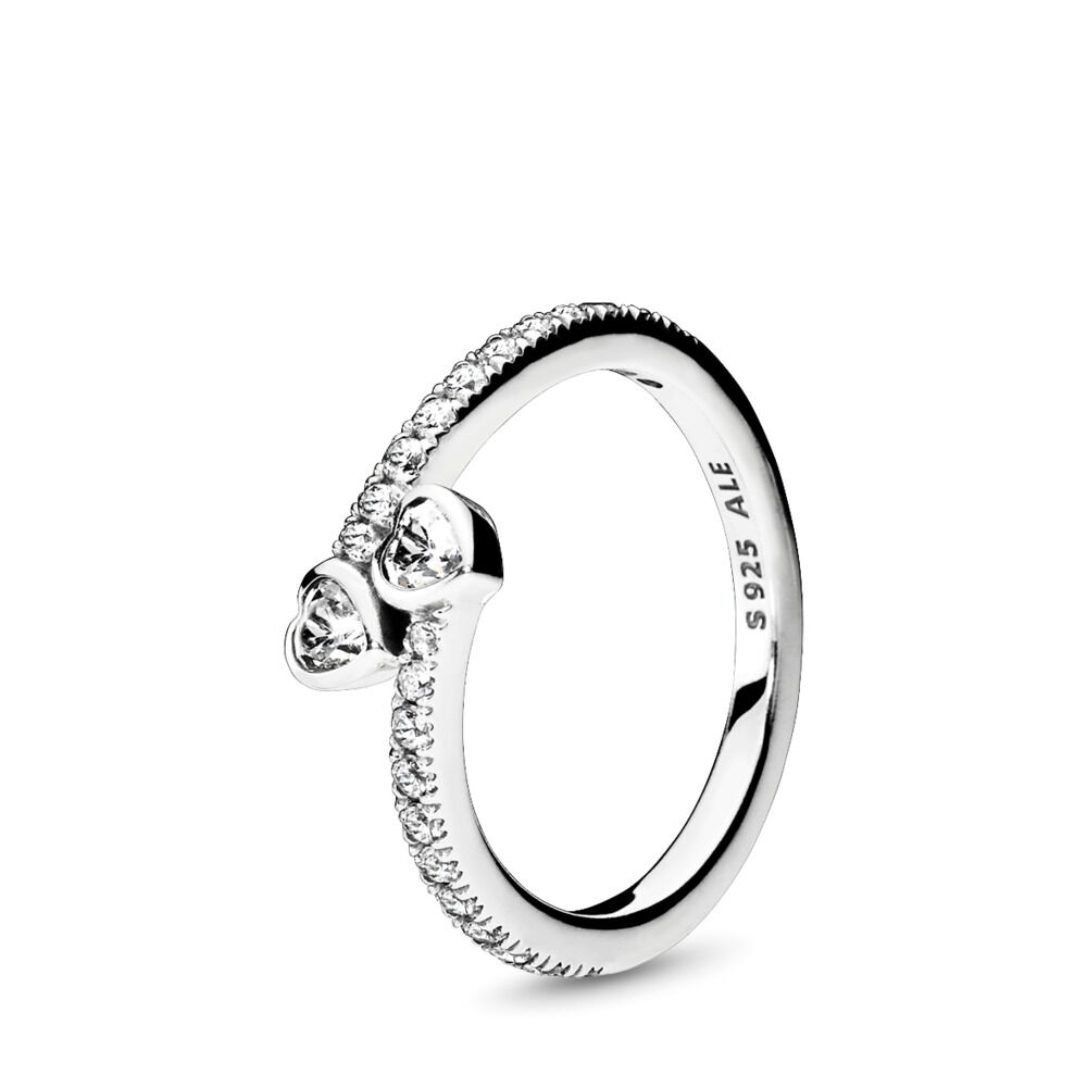 32648627fe9ba Two Sparkling Hearts Ring, Sterling silver, Cubic Zirconia – Shop