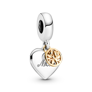 Two-tone Family Tree & Heart Dangle Charm