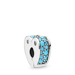 Cyan Blue Arcs of Love Clip, Sterling silver, Silicone, Blue, Crystal - PANDORA - #797227NYA