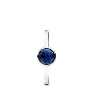 September Droplet Birthstone Ring, Sterling silver, Blue, Synthetic sapphire - PANDORA - #191012SSA