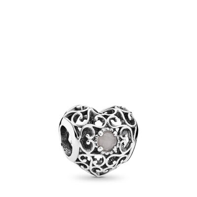 June Signature Heart  Birthstone Charm, Sterling silver, Grey, Moonstone - PANDORA - #791784MSG