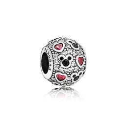 Disney, Sparkling Mickey & Hearts Charm, Sterling silver, Black, Mixed stones - PANDORA - #791457CZ