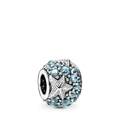 Oceanic Starfish Charm, Sterling silver, Blue, Cubic Zirconia - PANDORA - #791905CZF