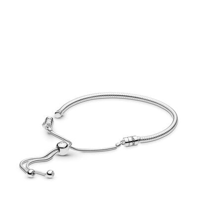 Moments Silver Sliding Bracelet, Sterling silver, Silicone, Cubic Zirconia - PANDORA - #597125CZ