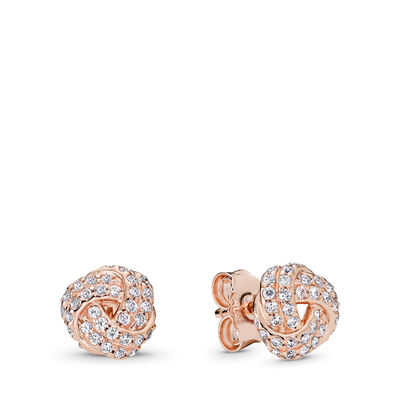 Sparkling Love Knot Stud Earrings, PANDORA Rose, Cubic Zirconia - PANDORA - #280696CZ