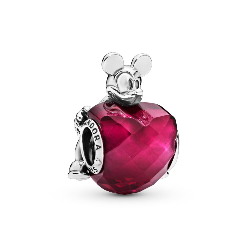 acbe87b38 Disney, Mickey Love Heart Charm, Sterling silver, Red, Crystal –