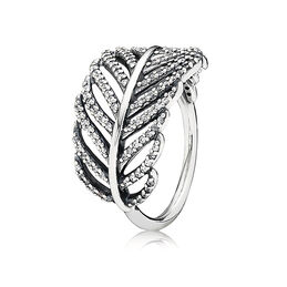 Feather Ring, Sterling silver, Cubic Zirconia - PANDORA - #190886CZ