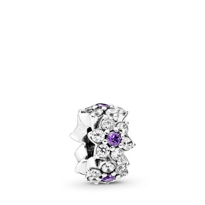 Forget Me Not Spacer, Sterling silver, Purple, Cubic Zirconia - PANDORA - #791834ACZ