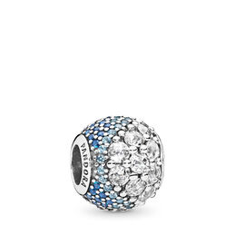 Blue Enchanted Pavé Charm, Sterling silver, Blue, Mixed stones - PANDORA - #797032NABMX