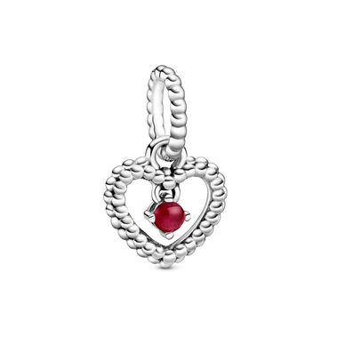 January Birthstone Heart Dangle Charm