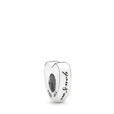 Two Hearts Spacer, Sterling silver, Red, Cubic Zirconia - PANDORA - #796559CZR
