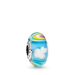 Iridescent Rainbow Glass Murano Charm, Sterling silver, Glass, Blue - PANDORA - #797013
