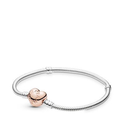 Moments Silver Bracelet, PANDORA Rose Heart Clasp