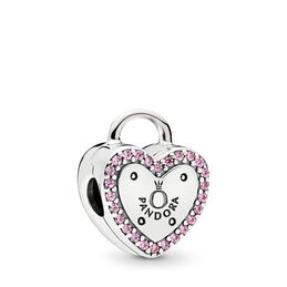Lock Your Promise Clip, Sterling silver, Pink, Cubic Zirconia - PANDORA - #796556FPC