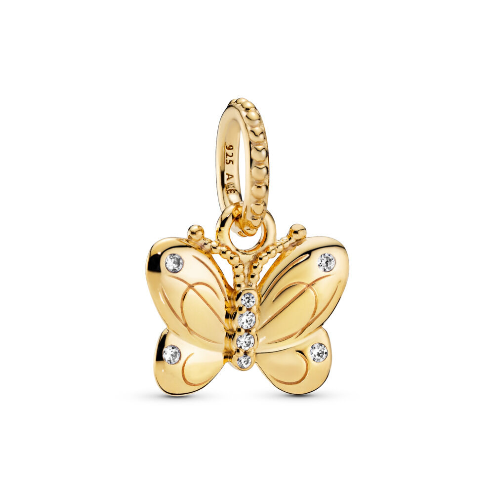 Decorative Butterfly Pendant, 18ct Gold Plated, Cubic